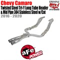 Twisted Steel Tri-Y Long Tube Header & Mid Pipe 304 Stainless Steel w/Cat by aFe