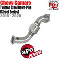 Twisted Steel Down Pipe 3 IN 304 Stainless Steel w/Cat by aFe